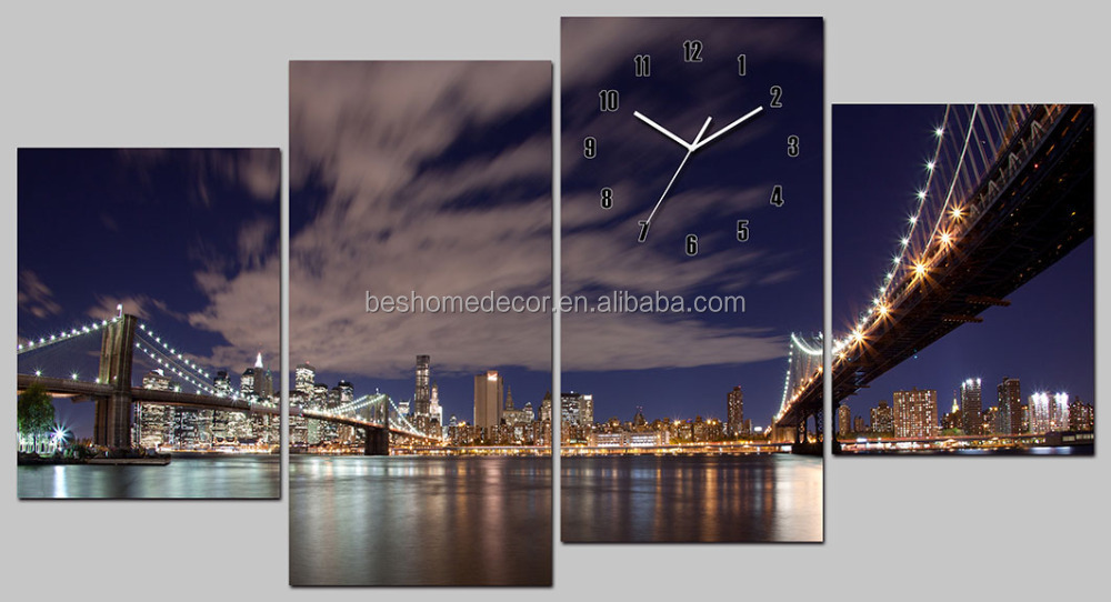 2016 large decorative morden wall clocks 4 panels NEW YORK Bridge