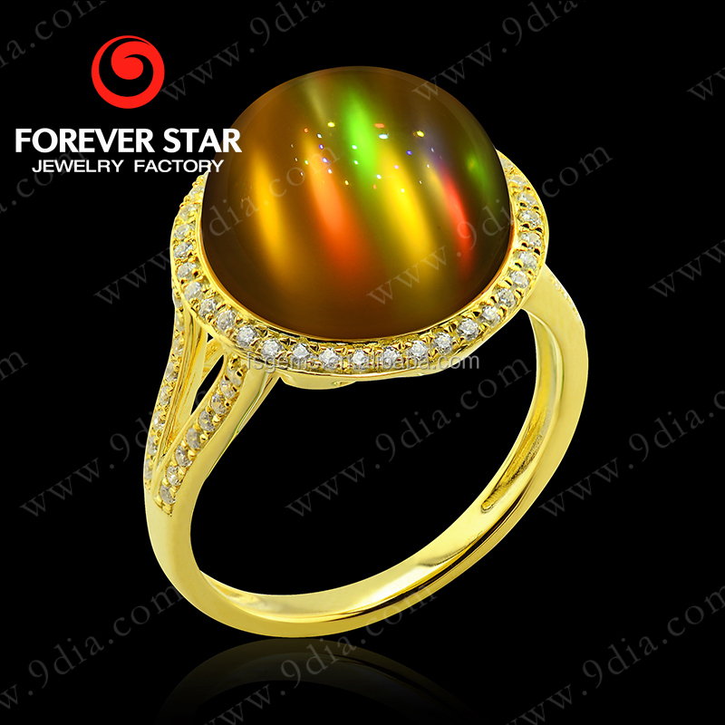 2015 Wholesale Chrysonitor and Diamond 22 Carat Big Stone Gold Ring Designs for Women