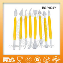 8 Piece yellow sugar craft modeling tools set with 16 shapes for cake and dessert decorating BS-Y004Y