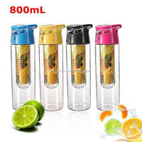 800mL Sport High Quality Tritan Plastic Fruit Juice Infuser Water Bottle Flip Lid Bike Travel Free Shipping