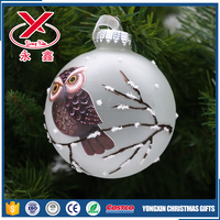 10cm Christmas glass ball with owl decale for Christmas tree decorations