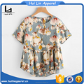 Brand clothes for women allover flower print smock blouse top crop top women