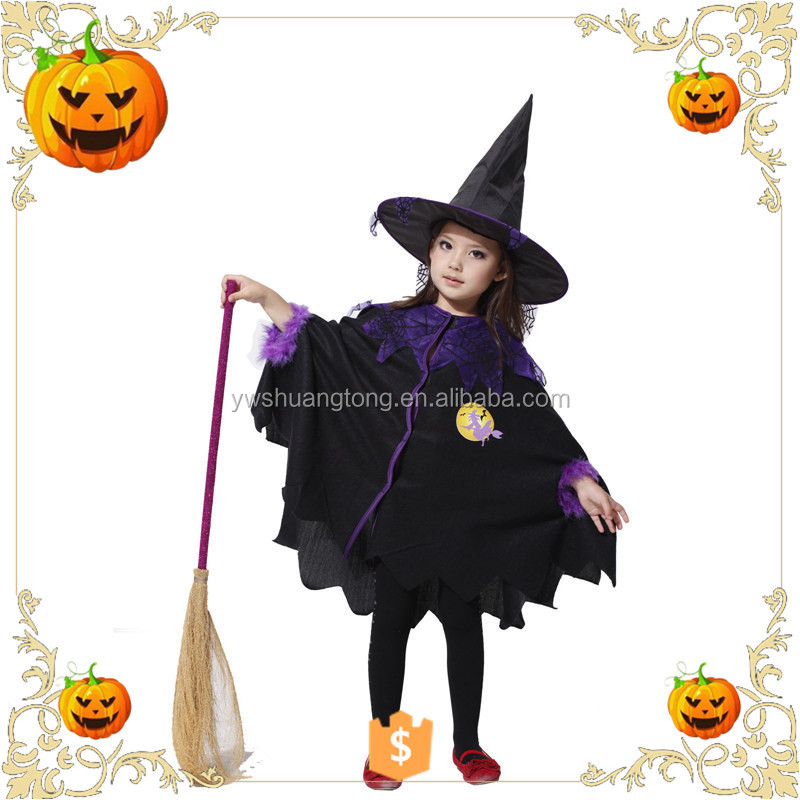 2017 OEM Kids Halloween magician clothes costumes pumpkin festival cute party dress