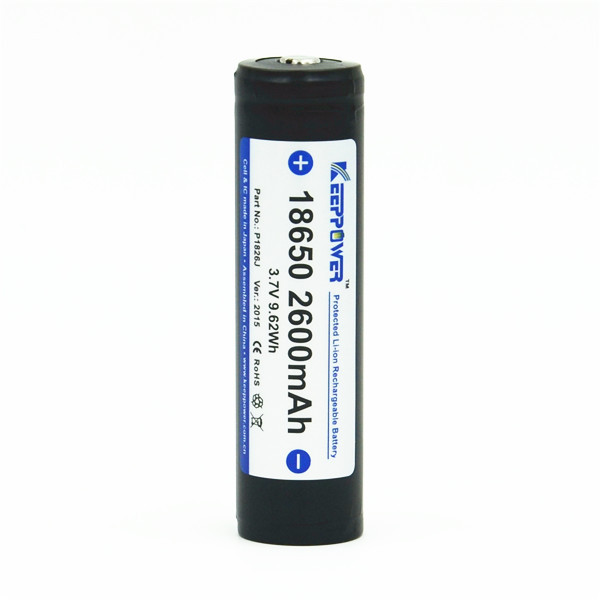 KeepPower P1826J lithium ion 3.7V sanyo 2600 protected 2600mah 18650 battery