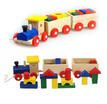 FQ brand new products kids wooden building blocks train set