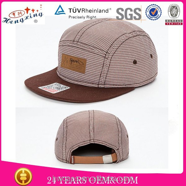 Leather patch strap back check pattern 5 panel cap flat brim