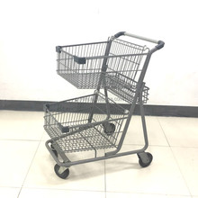 Germany Style Double Basket Supermarket Shopping Trolley Cart