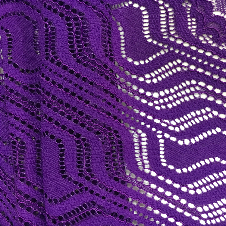 Factory new arrival Irregular patterns purple lace embroidery fabric for curtains