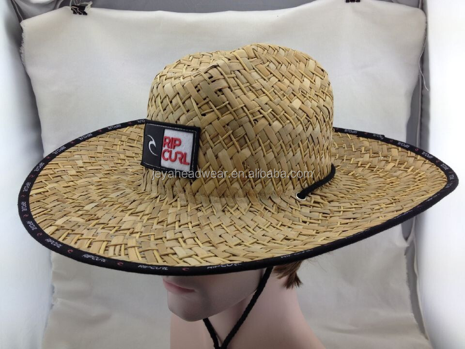 Applique embroidery straw bucket hat string printed binding straw bucket hat