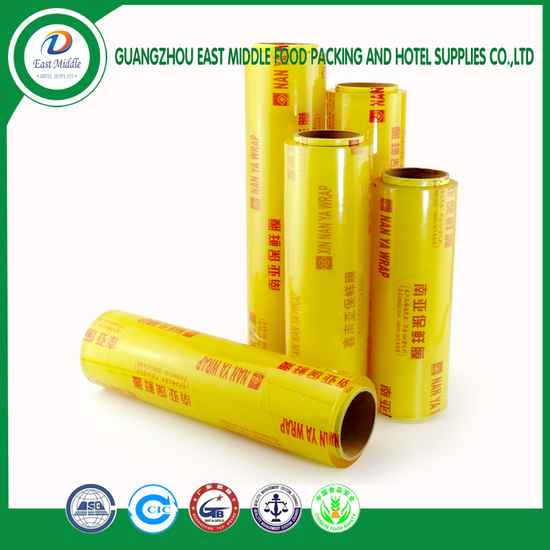 food grade PVC material plastic wrap plastic wrap pvc cling film for food grade heat resistant hardness cling firm