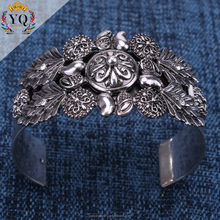 BLX-000122 silver plated nepal bracelet flower carved adjustable cuff alloy metal bangle nepal jewelry wholesale