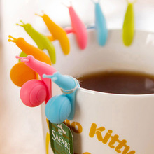 wholesale Candy Colors Cute Snail Shape Silicone Tea Bag Holder