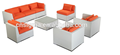 Sigma plastic wicker furniture patio sofa set outdoor white couch