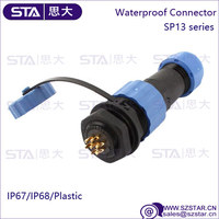 outdoor led lighting SP13 series plastic waterproof connector, male female 7pin cable connector