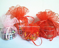 wholesale custom fancy round organza bag for jewelry /gift /win bottle