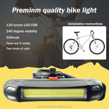2017 Hot Sale New high quality two color waterproof usb rechargeable Led Warning bike light