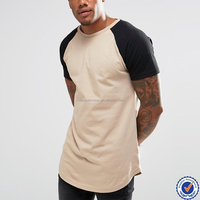 High quality 100% cotton mens wholesale scoop bottom raglan sleeve t shirt
