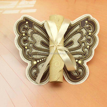 Laser cut butterfly wooden scroll wedding invitations with gold ribbon