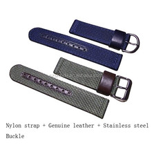 Nylon Watch Strap/ Nato Watch Band 22mm/ 24mm With Genuine Leather For Smart Watch