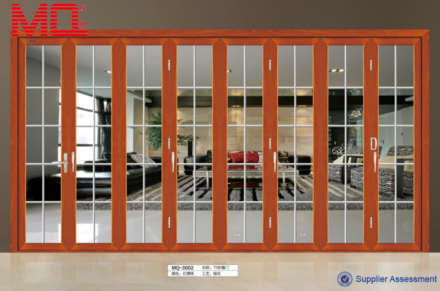 Aluminum safety doors design with grill 48 inch main door for Sliding main door