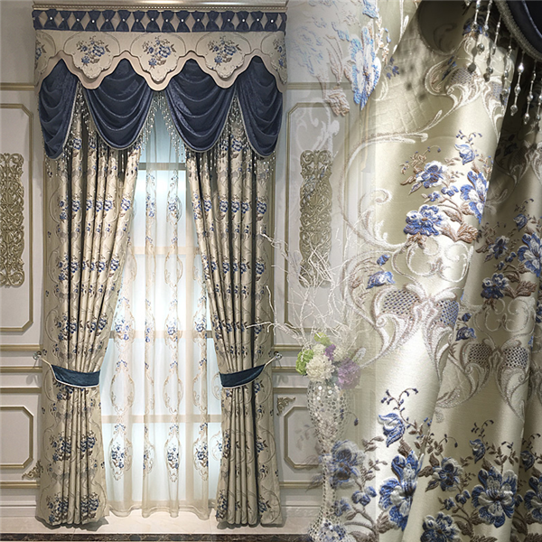luxury jacquard arab blackout curtain with wave valance