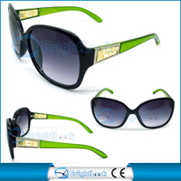 2014 Fashion new style big frame sunglasses with green temple(BSP1054)