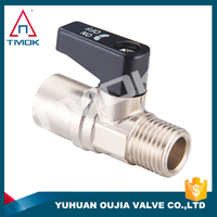 for gas/liquid Aluminum handle F*M thread brass mini ball valve with nickle plated finishing