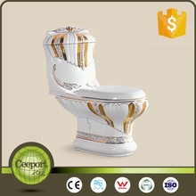cp-301 One piece ceramic gold color mobile flush toilets manufactures