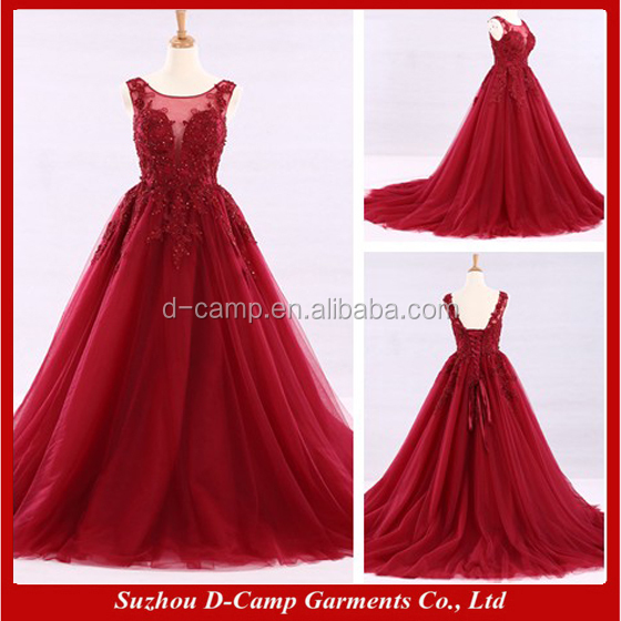 WD330 Sheer straps illusion neckine lace up back ball gown red wine cinderella wedding dress philippines
