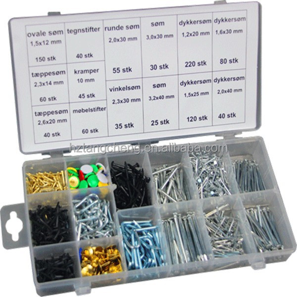 Universal Sizes 1000pc Assorted Standard Spring Spike Nail