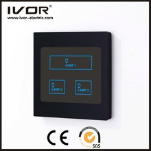 Smart Hotel intelligent 3 gang lamp Touch screen wall electrical control switch SK-T1000L3 Piano Black Synthetic glass/PC Frame