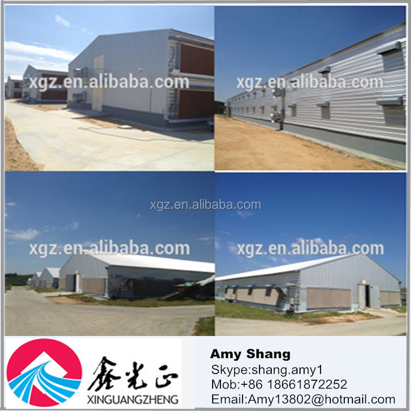 Low cost prefabricated steel structure chicken houses and poultry farm with feeding system