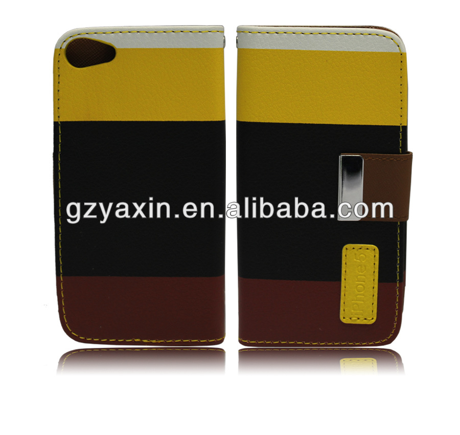 magnet leather flip case for iphone 5,wallet leather case for iphone 5 with 3 card slots