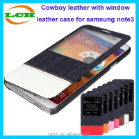 Cute credit card holder with window cowboy leather case for samsung galaxy note 3 lite n7505