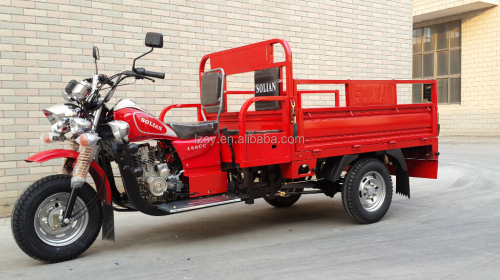 Open Body Cargo Gasoline Tricycle With Cabin For Adults Africa 3 wheel flatbed cargo trike in Nigeria Country