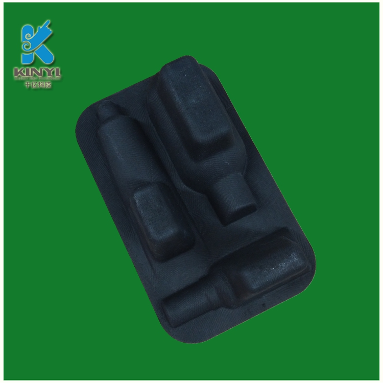Black color bagasse pulp molded cosmetic inner packaging tray