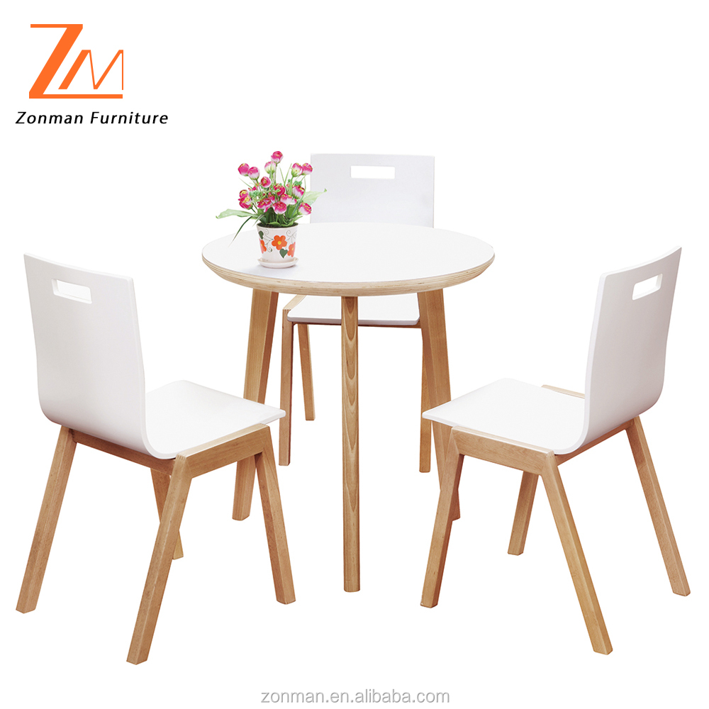 White Table and Chiars, Wooden Modern Dining Table Set