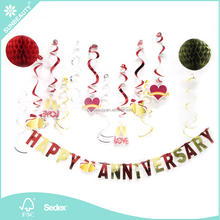 Happy Anniversary Hanging Dangling Swirls Tissue Paper Honeycomb Ball Set Valentines Wedding Decorations