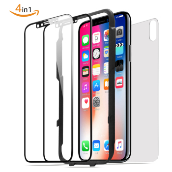Tempered Glass Screen Protector For iPhone X[2 Pack ][Combined Package]with accessories