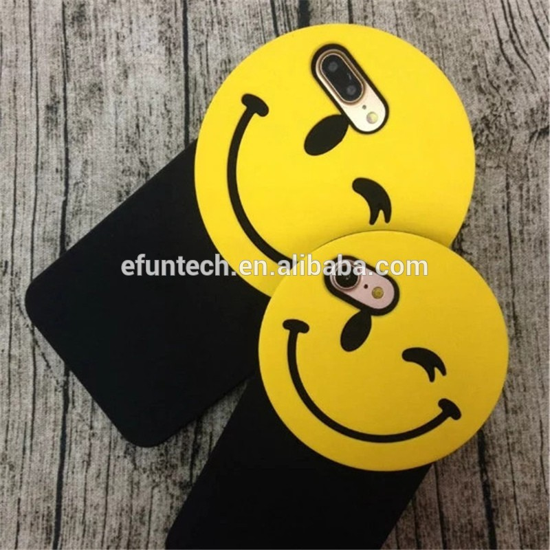 Christmas promotion lovely smile face cheap gel silicone cell phone cover for iphone 6 6s case cover