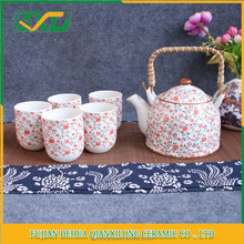 Chinese Style tea cup set pot with loop handle drinkware set