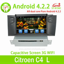 China factory Central multimedia Capacitive Android 4.2.2 Citroen C4 L Car dvd gps navigation player