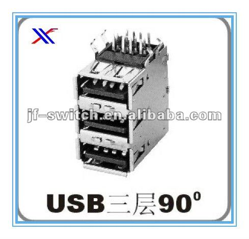 three storeys usb 90 degree mini connector