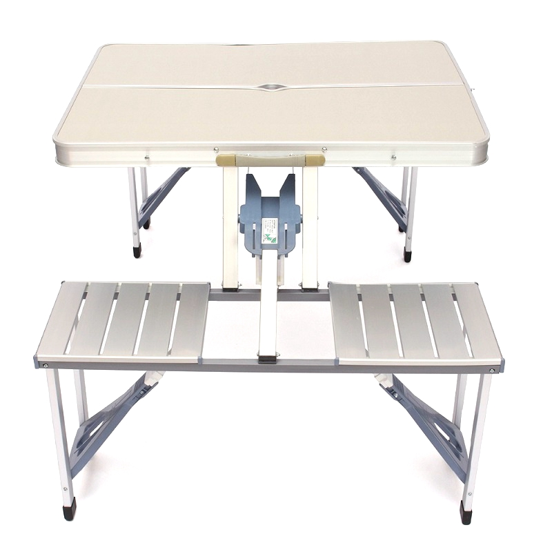 Portable Aluminum Folding Outdoor Camp Suitcase Picnic <strong>Table</strong> w/ 4 Seats