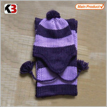 2016 Wholesale price purple scarf ear warm hat plain knit warm hat scarves hat and scarf knitting