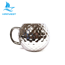 Novelty 16 Oz Silver Embossed Galvanized Ceramic Disco Ball Cup