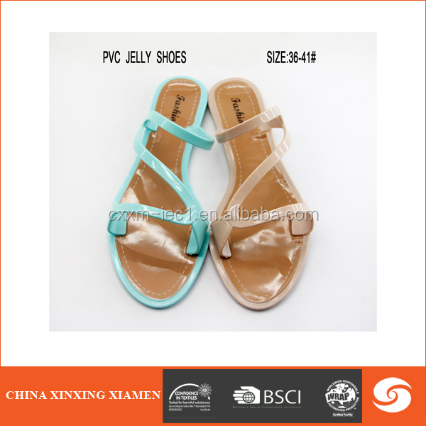 2015 wholesale new design pvc slipper upper strap