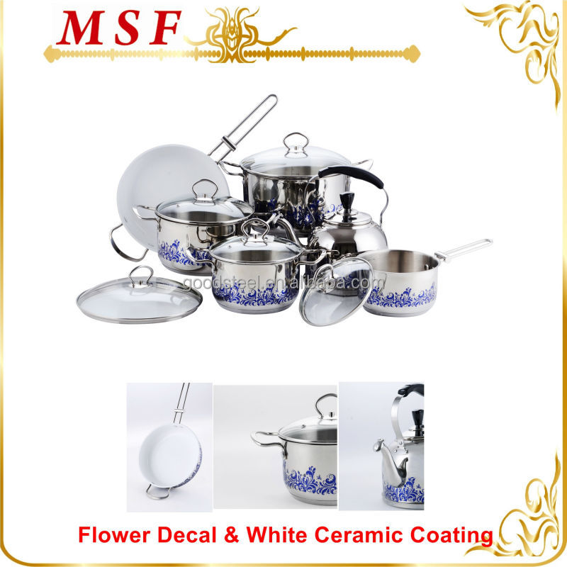 2015 visioneer 12pcs stainless steel first horse cookware set NEW design flower decal on all kitchenware color ceramic coating