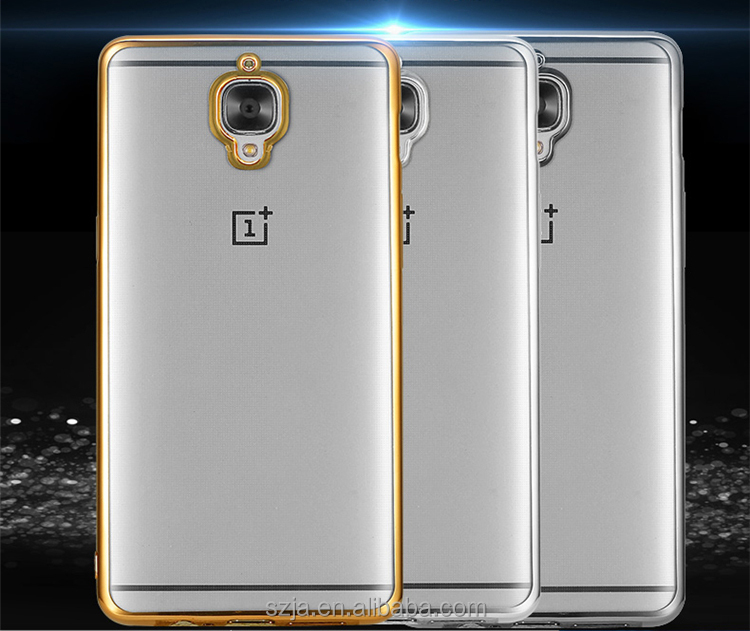 Transparent plating border phone case for oneplus 3T, electroplated ultra-thin TPU back cover case for one plus 3T