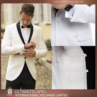 2016 OEM service slim fit white shawl collar mens suits&tuxedo for wedding best men suit